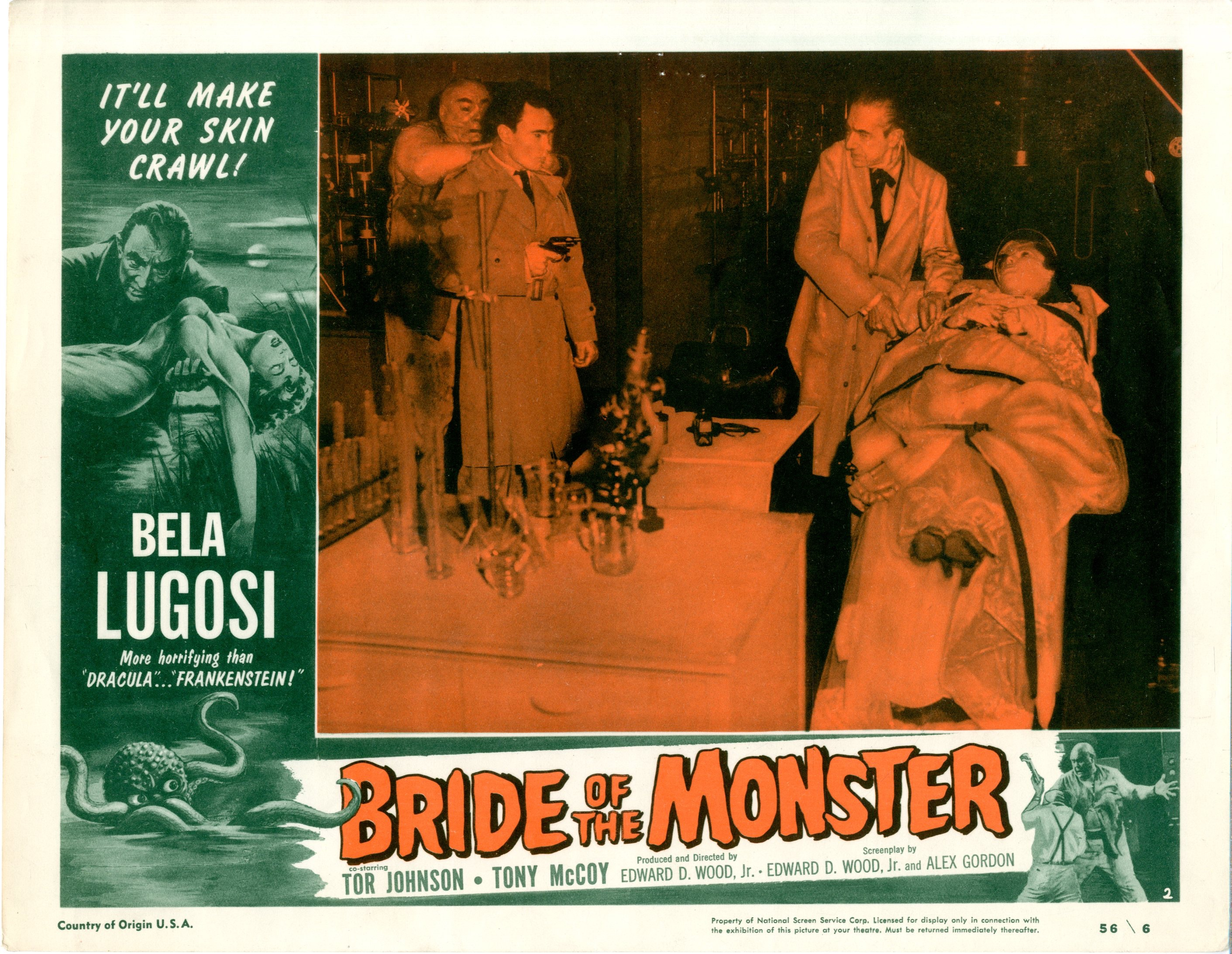 Bride Of The Monster  1956  8 Lobby Card Set - 15514