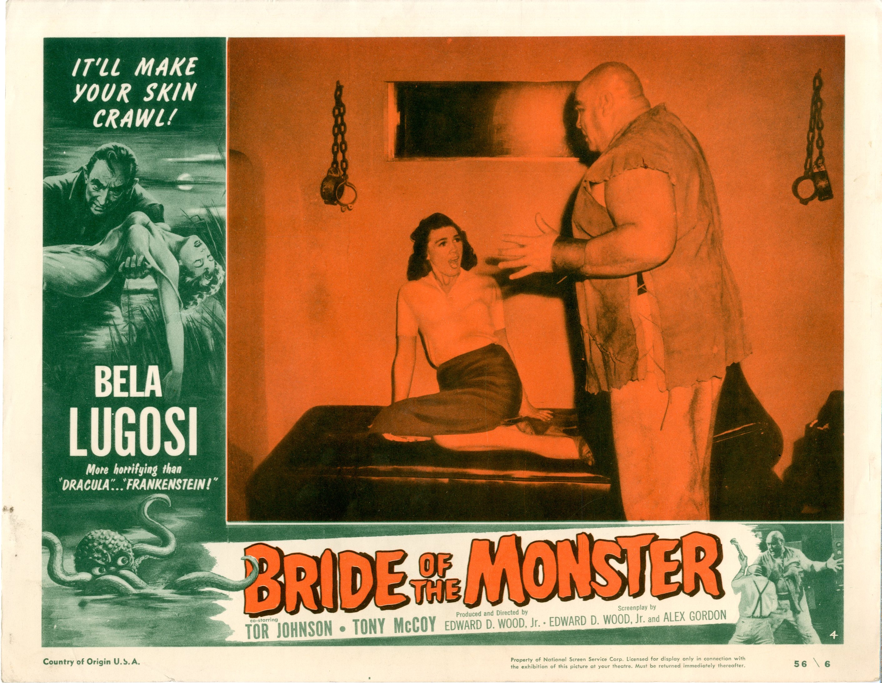Bride Of The Monster  1956  8 Lobby Card Set - 15516