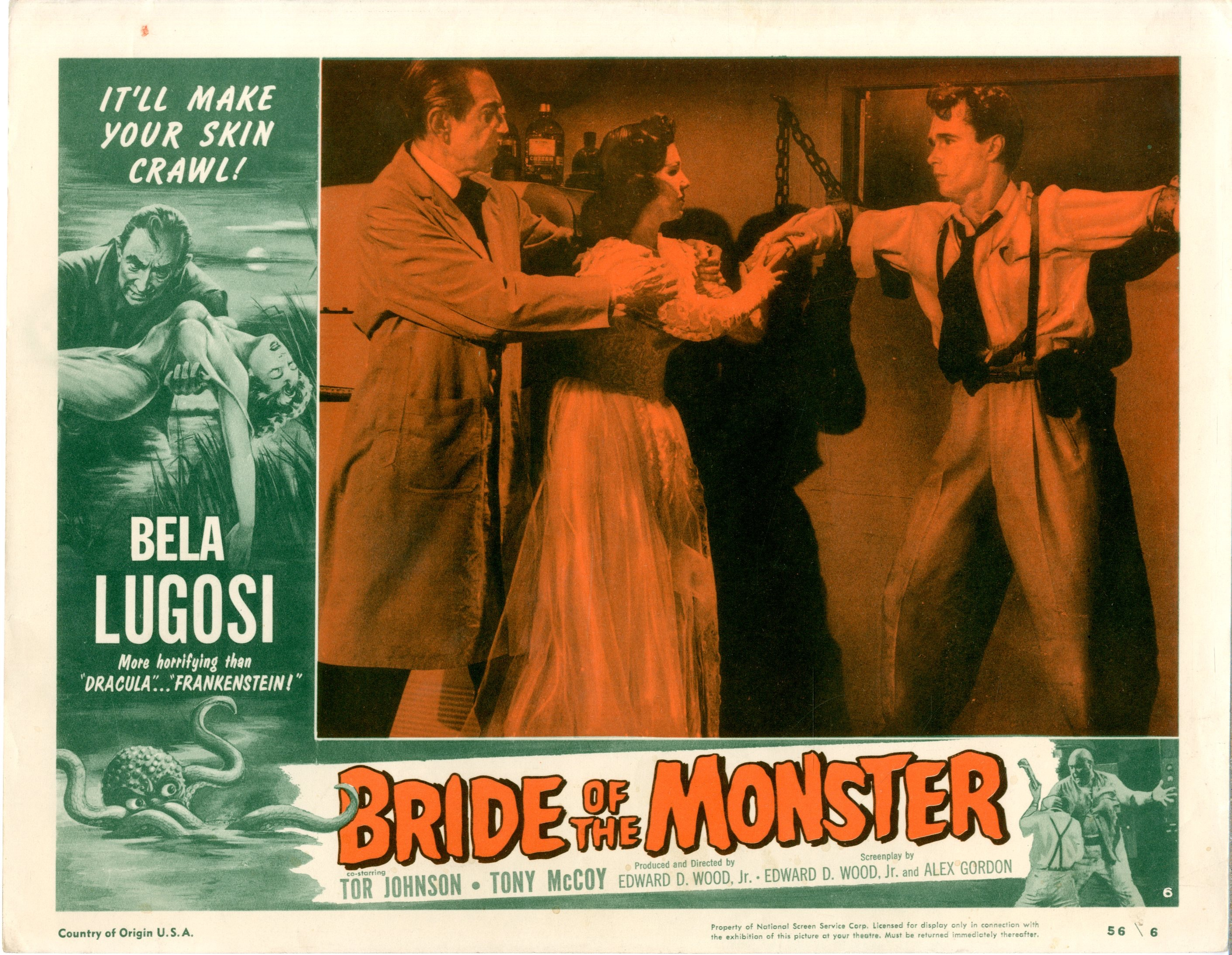 Bride Of The Monster  1956  8 Lobby Card Set - 15518