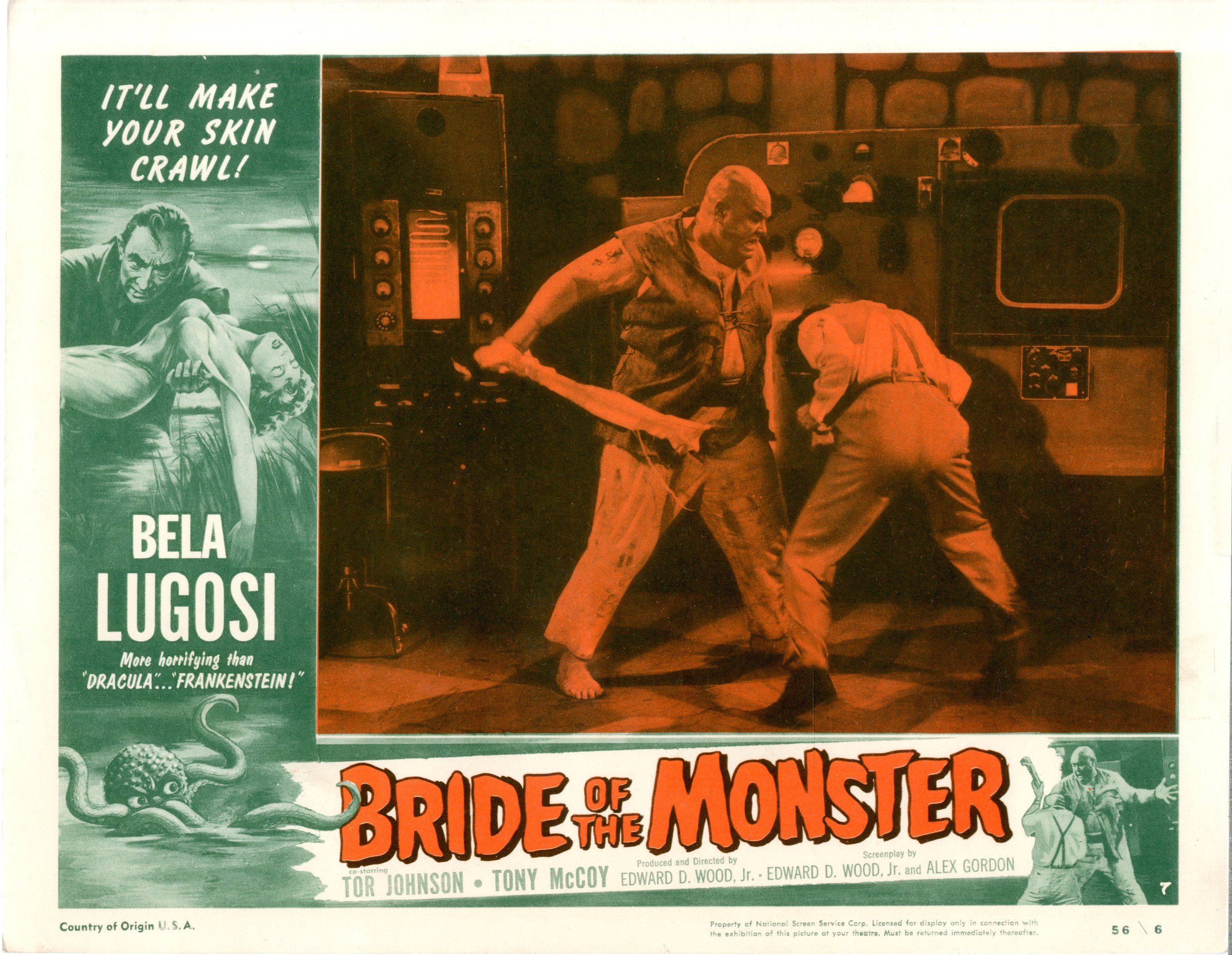 Bride Of The Monster  1956  8 Lobby Card Set - 15519