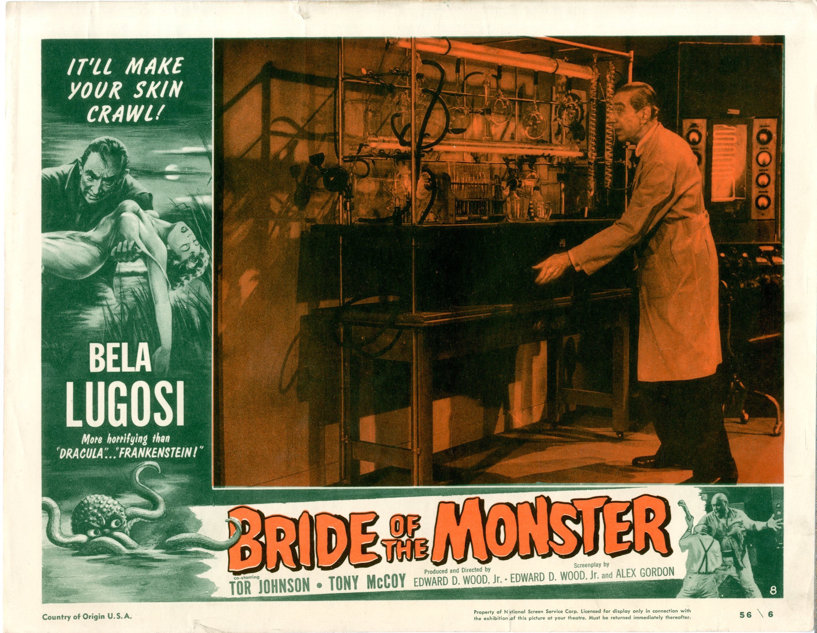 Bride Of The Monster  1956  8 Lobby Card Set - 15520
