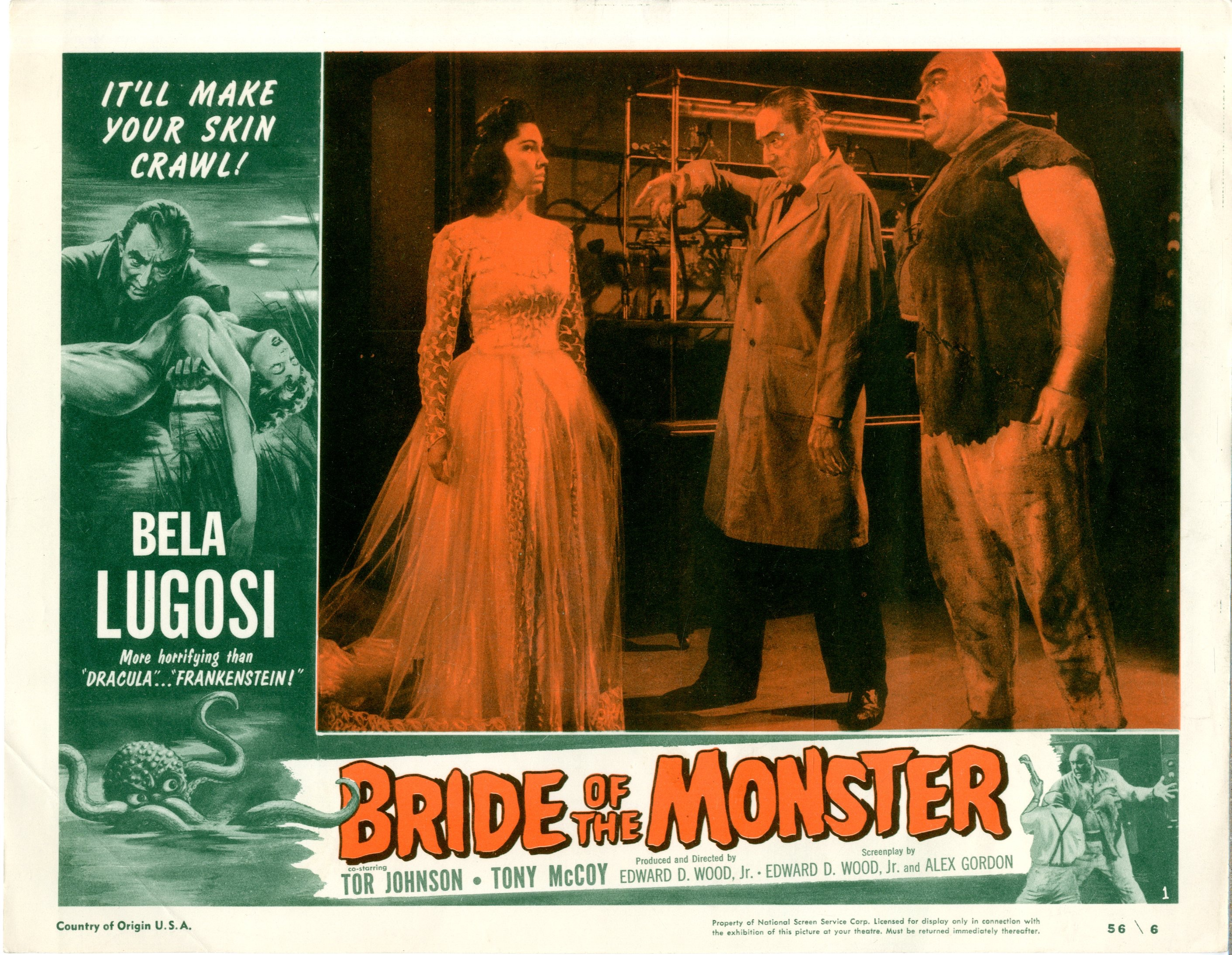 Bride Of The Monster  1956  8 Lobby Card Set - Primary